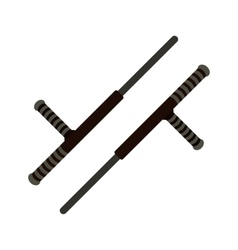 Tonfa weapon flat icon vector image vector image