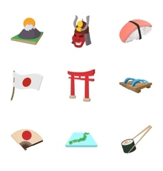 Tourism in Japan icons set cartoon style vector image
