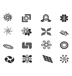 black abstract pattern icons vector image