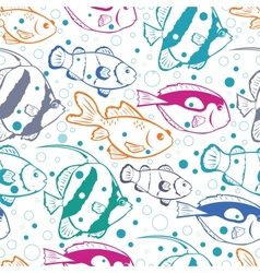 Colorful fish seamless pattern background vector