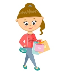 Girl Is Shoping Walks in Sweater and Jeans vector image