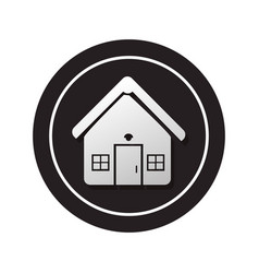 Monochrome circular button facade house icon vector
