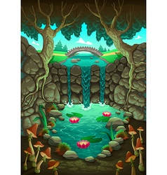 Natural landscape with the pond vector