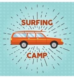 retro flat web banner design on surfing vector image