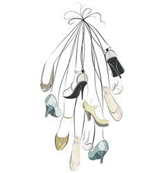 shoes and legs hanging in a bunch vector image vector image
