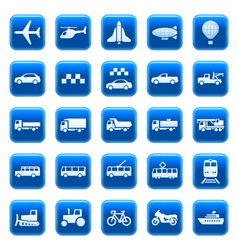 transport icons buttons vector image vector image