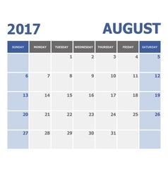 2017 August calendar week starts on Sunday vector