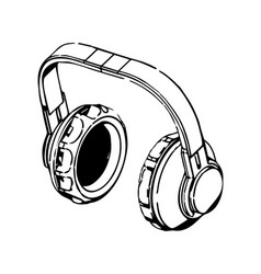 3d model of headphone on a white vector image
