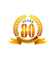 80 years ribbon anniversary vector