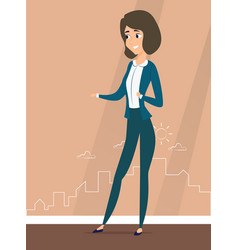 a woman stands against the silhouette of the city vector image