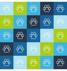 Animal seamless pattern of line pets paw vector image vector image