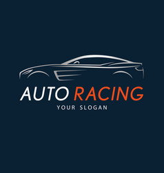 Auto racing symbol on dark blue background silver vector