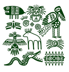 Aztec and inca native tribal signs vector