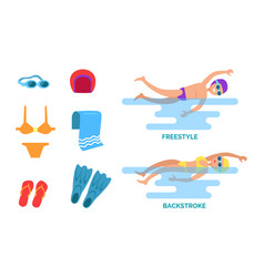Backstroke and freestyle set vector