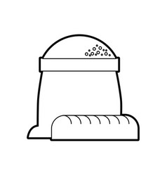 Bakery sack of flour with whole bread vector