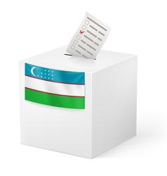Ballot box with voting paper uzbekistan vector