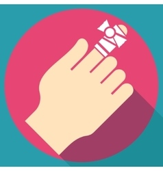 Bandage on finger flat icon vector image