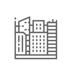 Big city megapolis landscape line icon vector