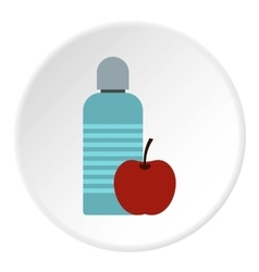 Bottle of water and apple icon flat style vector image