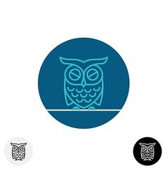 Calm sleeping owl line logo vector image