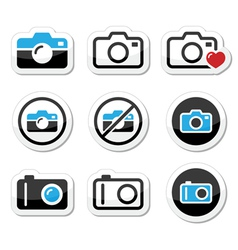 Camera analogue and digital icons set vector image