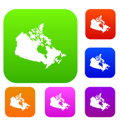 canada map set color collection vector image