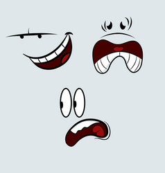 Cartoon expressions grin scream startled vector