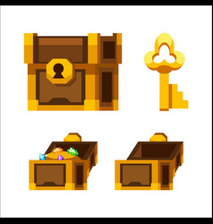 cartoon wooden chest with gold and key vector image