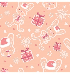 christmas bunny with gifts seamless pattern vector image