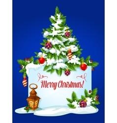 Christmas tree winter holidays greeting card vector