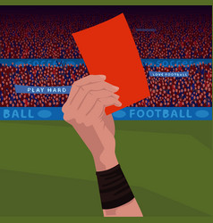 Close up hand holding red card vector