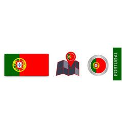 Collection portugals national flags isolated vector