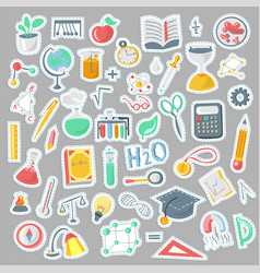 Colored funny back to school supplies elements vector