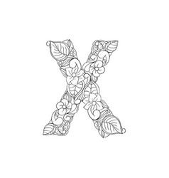 coloring book ornamental alphabet letter x font vector image