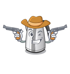 Cowboy electric stainless steel kettle on vector