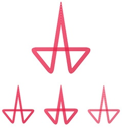 Crimson line research logo design set vector