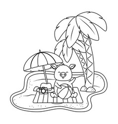 cute animal enjoying summer time cartoon vector image
