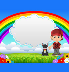 cute boy with dog in the park on rainbow day vector image