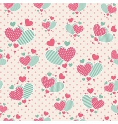 Cute carrtoon hearts for scrapbook paper vector