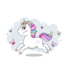 Cute cartoon unicorn running vector