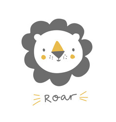 Cute lion with hand lettering roar baby lion vector
