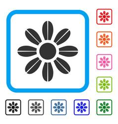 Daisy flower framed icon vector