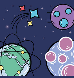 Different planets with stars in the space galaxy vector