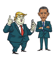 Donald trump and barack obama cartoon vector