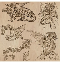 Dragons An hand drawn in one pack vector