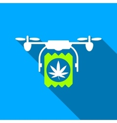 Drugs Drone Delivery Flat Long Shadow Square Icon vector image
