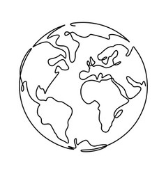 earth one line globus world planet graphic icon vector image