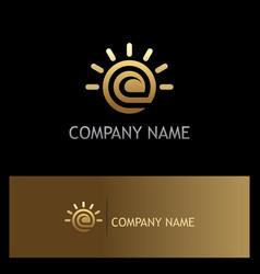 ecology leaf shine gold logo vector image