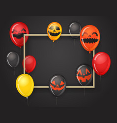 empty frame with halloween balloons halloween vector image