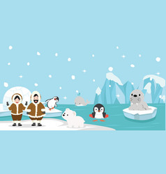 eskimo with artic animal background vector image